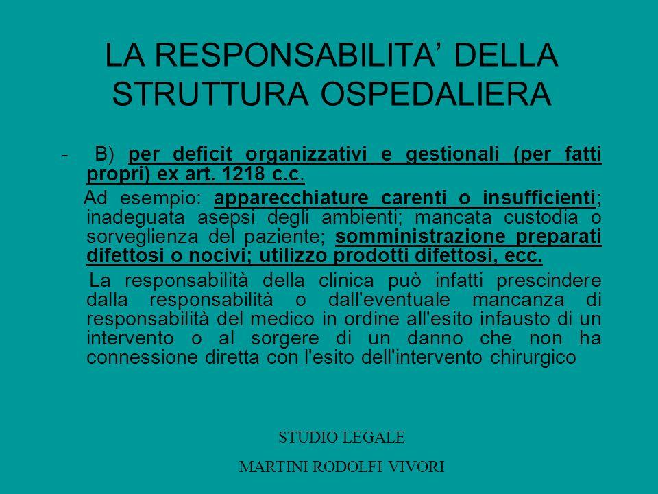 LA RESPONSABILITA DELLA STRUTTURA OSPEDALIERA - B) per deficit organizzativi e gestionali (per fatti propri) ex art. 1218 c.c. Ad esempio: apparecchia