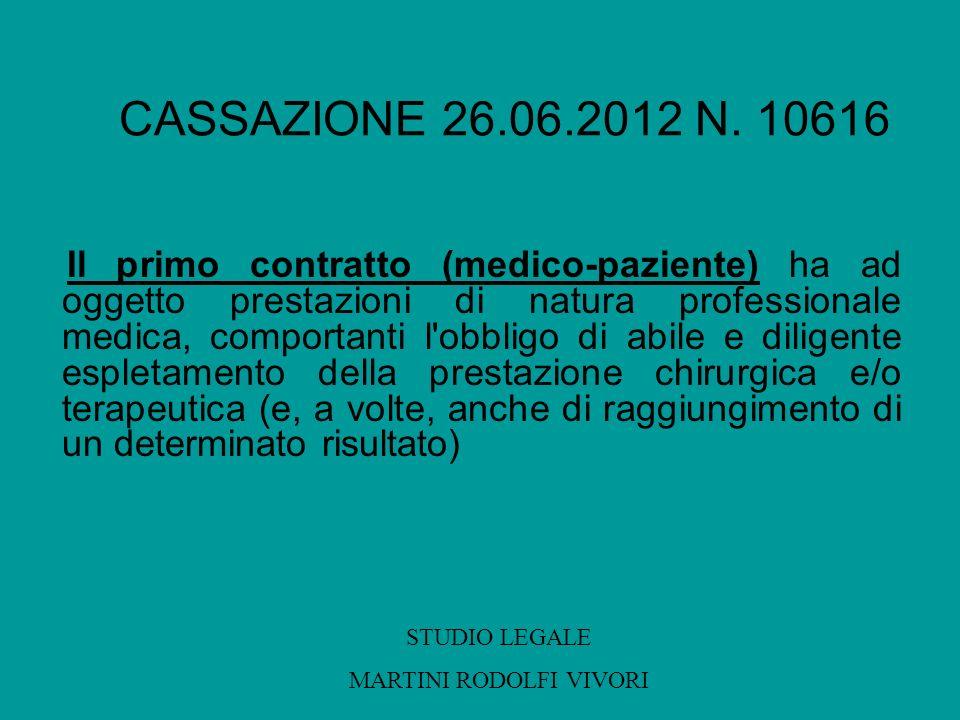 CASSAZIONE 26.06.2012 N. 10616 Il primo contratto (medico-paziente) ha ad oggetto prestazioni di natura professionale medica, comportanti l'obbligo di