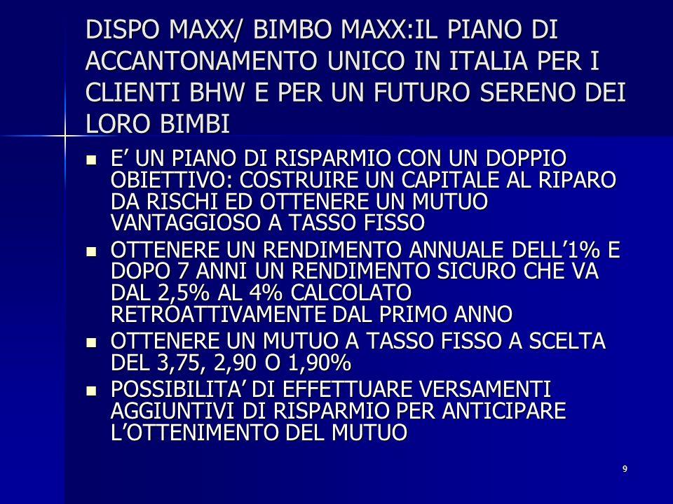 9 DISPO MAXX/ BIMBO MAXX:IL PIANO DI ACCANTONAMENTO UNICO IN ITALIA PER I CLIENTI BHW E PER UN FUTURO SERENO DEI LORO BIMBI E UN PIANO DI RISPARMIO CO