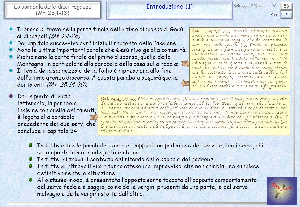 83 La parabola delle dieci ragazze (Mt. 25,1-13) Introduzione (1) 2 Pag. Schegge di VangeloN° Il brano si trova nella parte finale dellultimo discorso
