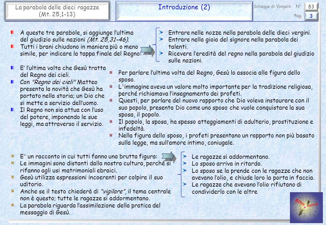 83 La parabola delle dieci ragazze (Mt. 25,1-13) Introduzione (2) 3 Pag. Schegge di VangeloN° A queste tre parabole, si aggiunge lultima del giudizio