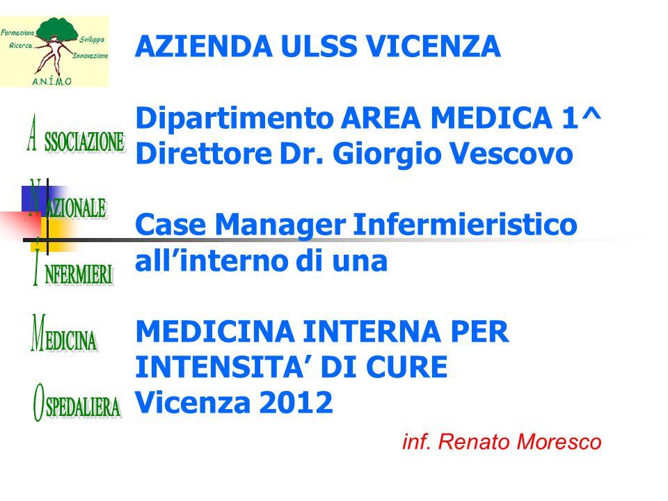 AZIENDA ULSS VICENZA Dipartimento AREA MEDICA 1^ Direttore Dr. Giorgio Vescovo Case Manager Infermieristico allinterno di una MEDICINA INTERNA PER INT