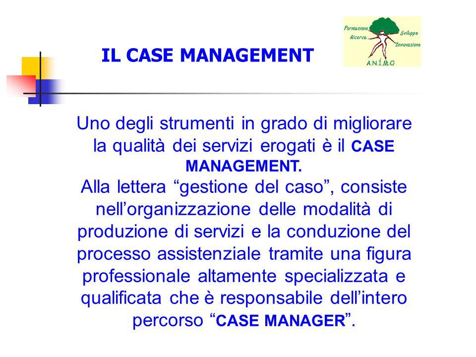 Uno degli strumenti in grado di migliorare la qualità dei servizi erogati è il CASE MANAGEMENT. Alla lettera gestione del caso, consiste nellorganizza
