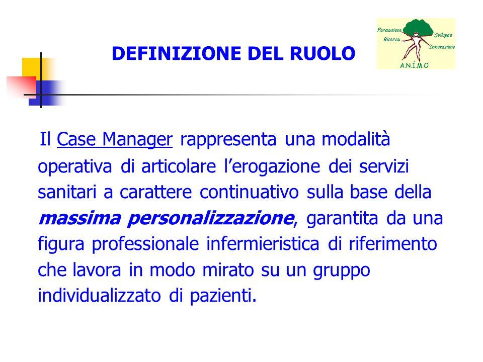 DEFINIZIONE DEL RUOLO Il Case Manager rappresenta una modalità operativa di articolare lerogazione dei servizi sanitari a carattere continuativo sulla