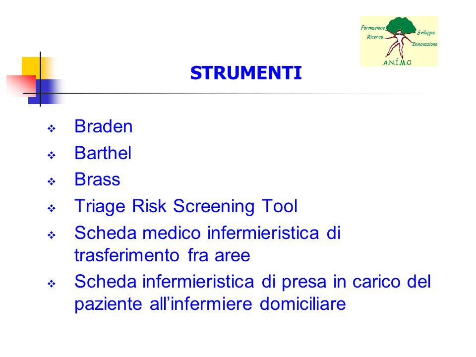 STRUMENTI Braden Barthel Brass Triage Risk Screening Tool Scheda medico infermieristica di trasferimento fra aree Scheda infermieristica di presa in c