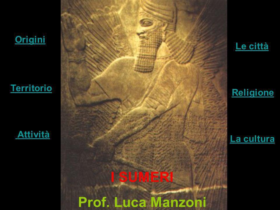 I SUMERI Prof. Luca Manzoni Territorio Attività Le città Origini Religione La cultura