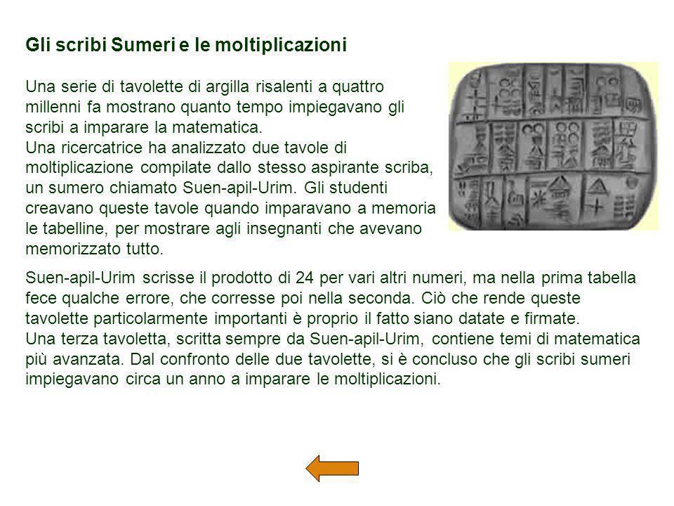 Gli scribi Sumeri e le moltiplicazioni Una serie di tavolette di argilla risalenti a quattro millenni fa mostrano quanto tempo impiegavano gli scribi