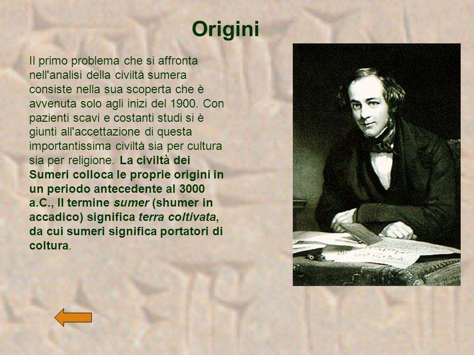 Il primo problema che si affronta nell'analisi della civiltà sumera consiste nella sua scoperta che è avvenuta solo agli inizi del 1900. Con pazienti