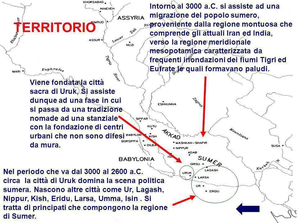 Intorno al 3000 a.C. si assiste ad una migrazione del popolo sumero, proveniente dalla regione montuosa che comprende gli attuali Iran ed India, verso