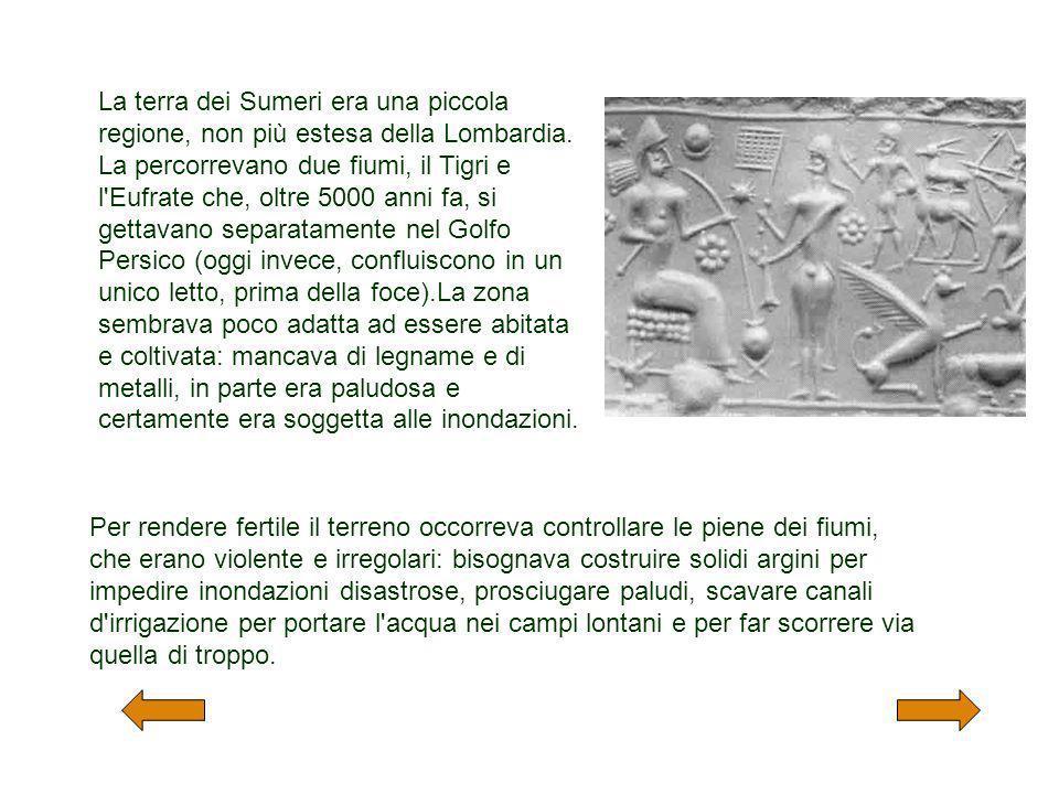 La terra dei Sumeri era una piccola regione, non più estesa della Lombardia. La percorrevano due fiumi, il Tigri e l'Eufrate che, oltre 5000 anni fa,
