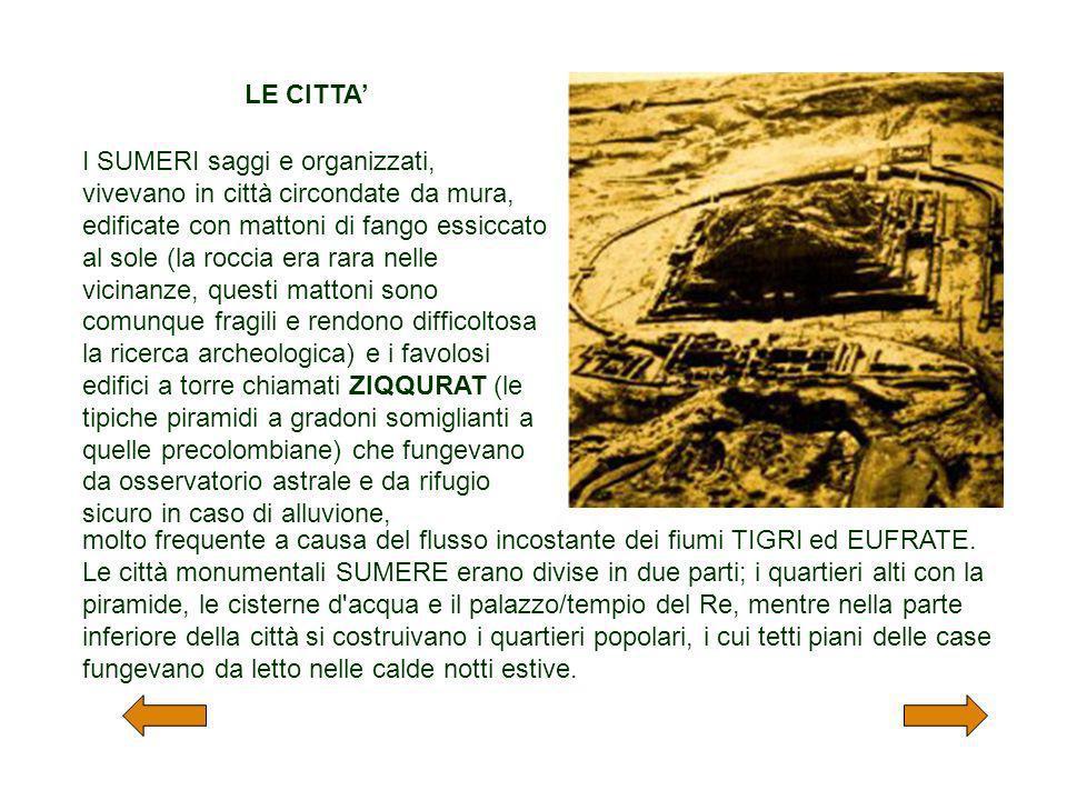 I SUMERI saggi e organizzati, vivevano in città circondate da mura, edificate con mattoni di fango essiccato al sole (la roccia era rara nelle vicinan