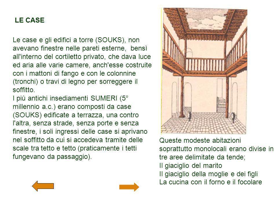 LE CASE Le case e gli edifici a torre (SOUKS), non avevano finestre nelle pareti esterne, bensì all'interno del cortiletto privato, che dava luce ed a