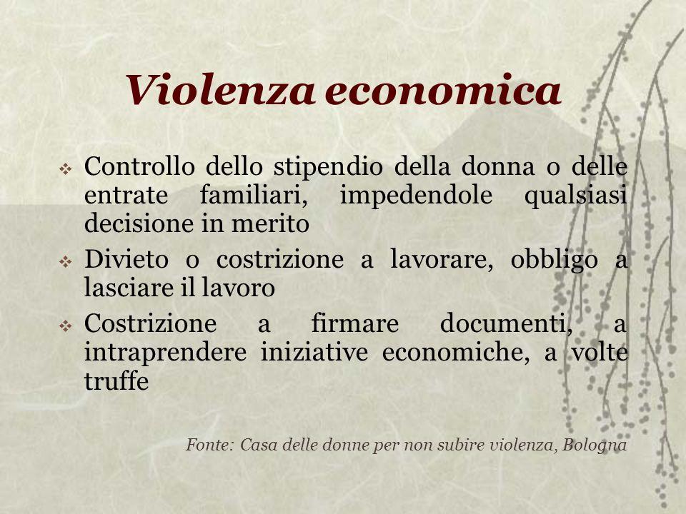 Violenza economica Controllo dello stipendio della donna o delle entrate familiari, impedendole qualsiasi decisione in merito Divieto o costrizione a