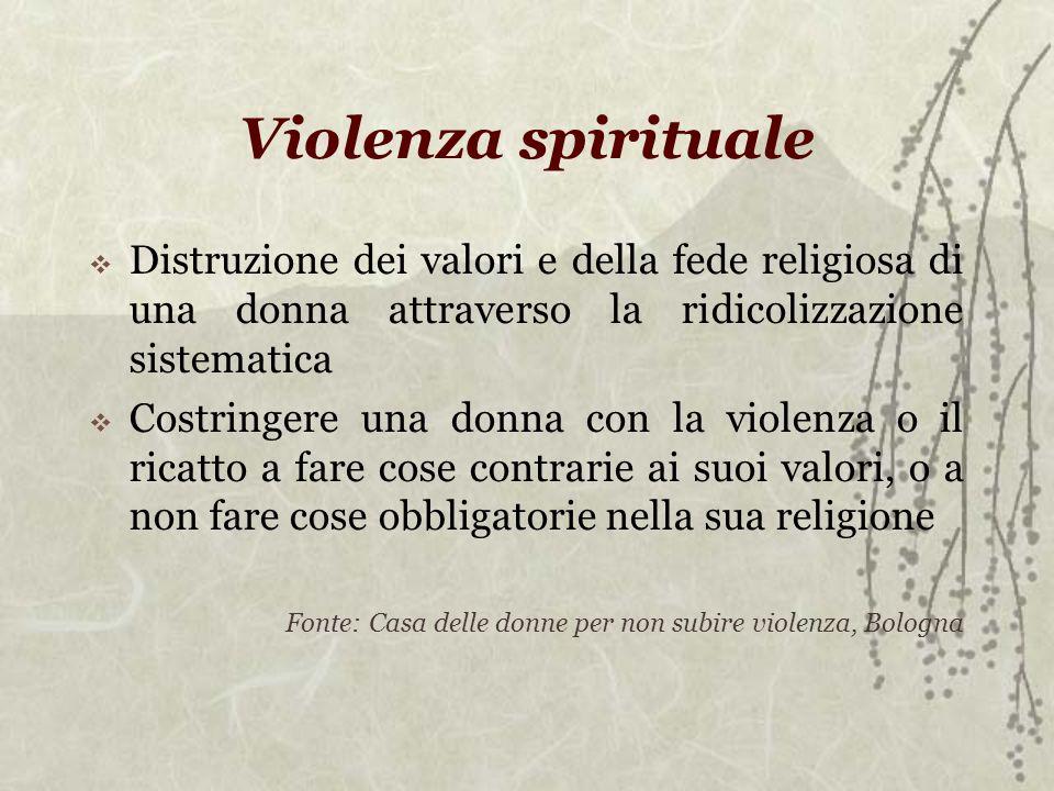 Violenza spirituale Distruzione dei valori e della fede religiosa di una donna attraverso la ridicolizzazione sistematica Costringere una donna con la