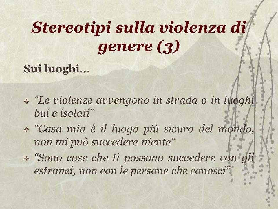 Stereotipi sulla violenza di genere (3) Sui luoghi… Le violenze avvengono in strada o in luoghi bui e isolati Casa mia è il luogo più sicuro del mondo