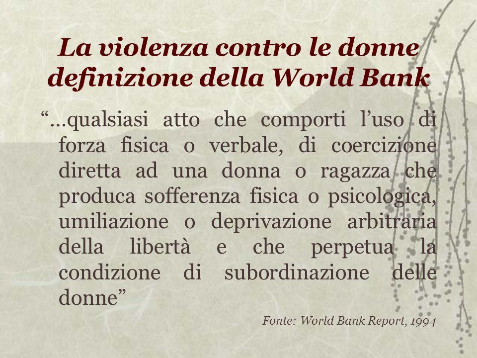 La violenza contro le donne definizione della World Bank …qualsiasi atto che comporti luso di forza fisica o verbale, di coercizione diretta ad una do