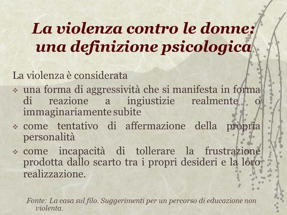 La violenza contro le donne: una definizione psicologica La violenza è considerata una forma di aggressività che si manifesta in forma di reazione a i