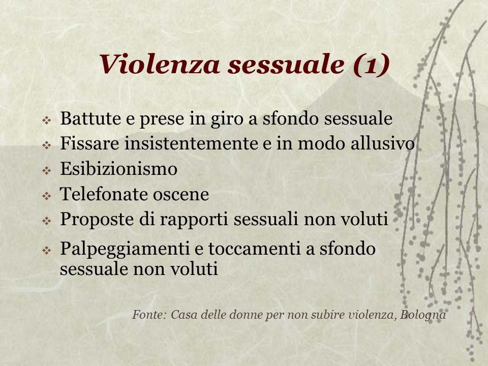 Violenza sessuale (1) Battute e prese in giro a sfondo sessuale Fissare insistentemente e in modo allusivo Esibizionismo Telefonate oscene Proposte di