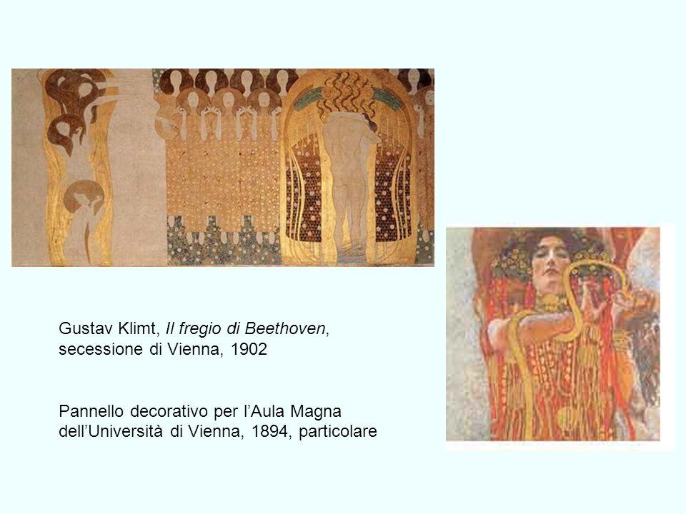 Gustav Klimt, Il fregio di Beethoven, secessione di Vienna, 1902 Pannello decorativo per lAula Magna dellUniversità di Vienna, 1894, particolare