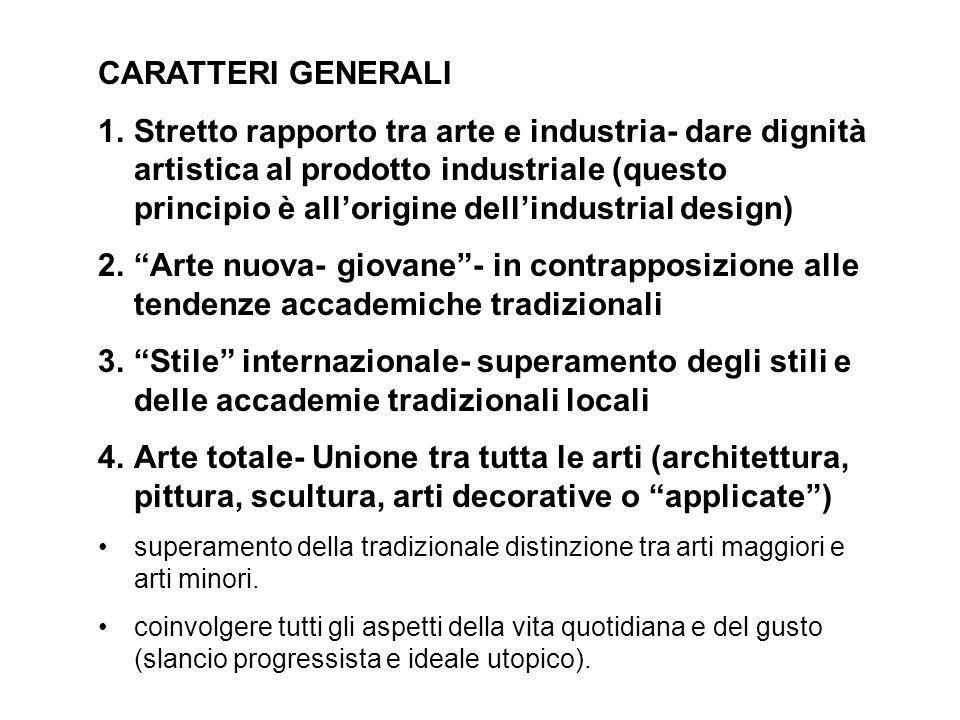 CARATTERI GENERALI 1.Stretto rapporto tra arte e industria- dare dignità artistica al prodotto industriale (questo principio è allorigine dellindustri