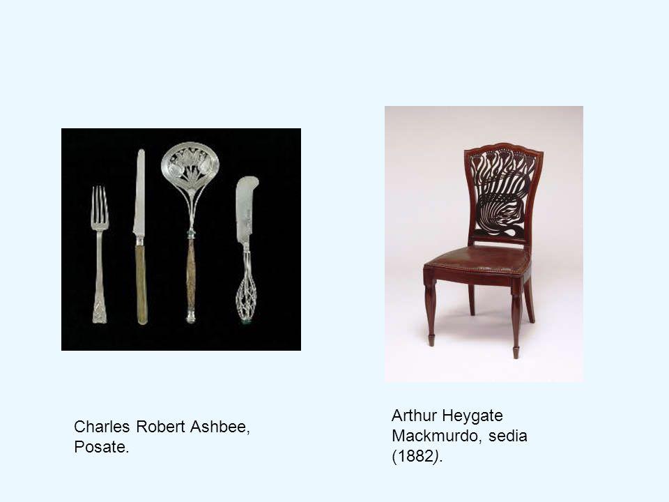 Arthur Heygate Mackmurdo, sedia (1882). Charles Robert Ashbee, Posate.