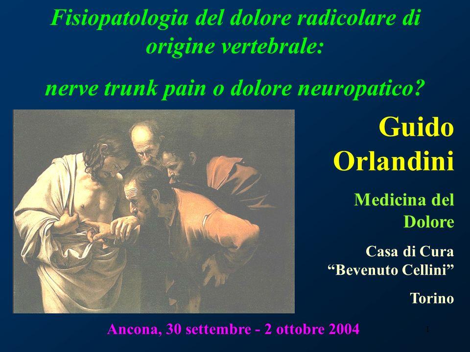 1 Fisiopatologia del dolore radicolare di origine vertebrale: nerve trunk pain o dolore neuropatico? Guido Orlandini Medicina del Dolore Casa di Cura