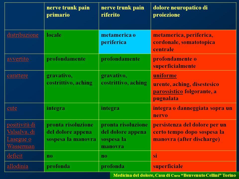 18 Medicina del dolore, Casa di Cura Benvenuto Cellini Torino nerve trunk pain primario nerve trunk pain riferito dolore neuropatico di proiezione dis