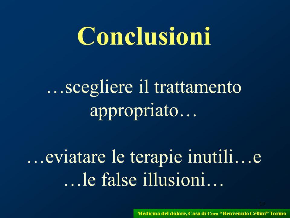 19 Conclusioni …scegliere il trattamento appropriato… …eviatare le terapie inutili…e …le false illusioni… Medicina del dolore, Casa di Cura Benvenuto