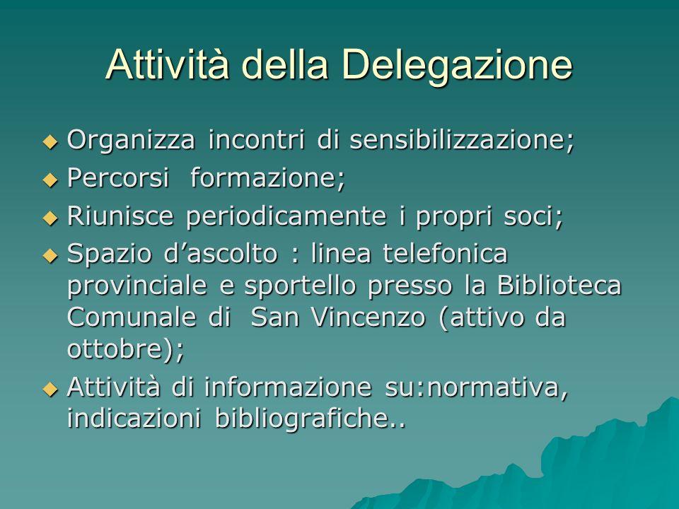 Attività della Delegazione Organizza incontri di sensibilizzazione; Organizza incontri di sensibilizzazione; Percorsi formazione; Percorsi formazione;