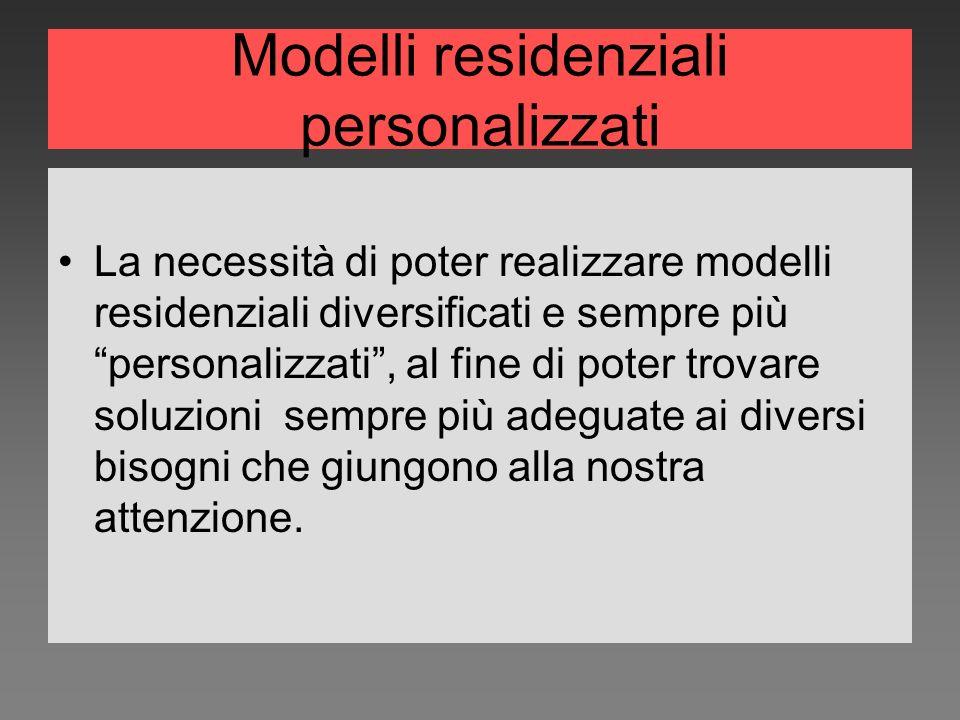Modelli residenziali personalizzati La necessità di poter realizzare modelli residenziali diversificati e sempre più personalizzati, al fine di poter trovare soluzioni sempre più adeguate ai diversi bisogni che giungono alla nostra attenzione.