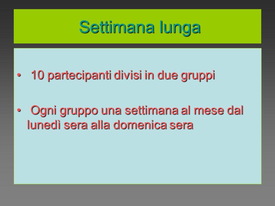 Settimana lunga Settimana lunga 10 partecipanti divisi in due gruppi 10 partecipanti divisi in due gruppi Ogni gruppo una settimana al mese dal lunedì