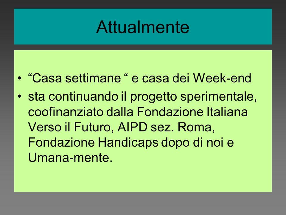 Casa settimane e casa dei Week-end sta continuando il progetto sperimentale, coofinanziato dalla Fondazione Italiana Verso il Futuro, AIPD sez. Roma,