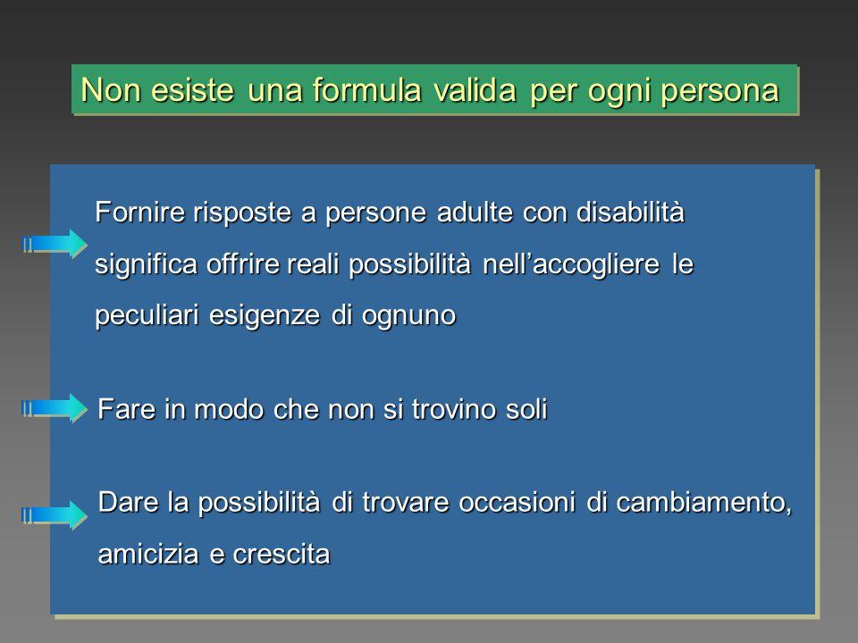 Non esiste una formula valida per ogni persona Fornire risposte a persone adulte con disabilità significa offrire reali possibilità nellaccogliere le