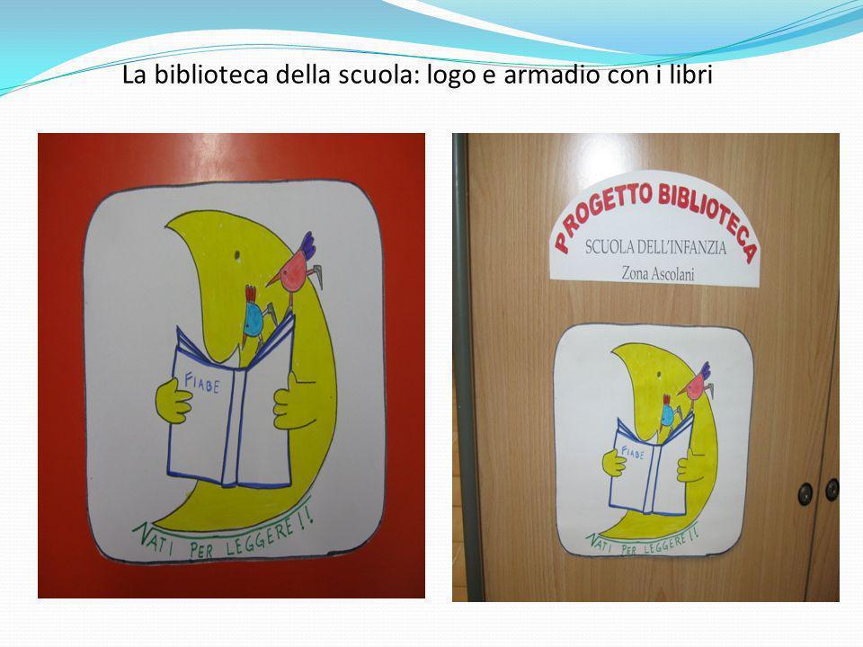 La biblioteca della scuola: logo e armadio con i libri