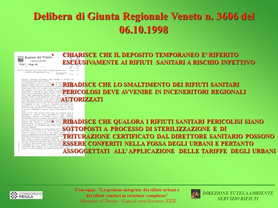 Delibera di Giunta Regionale Veneto n. 3606 del 06.10.1998 CHIARISCE CHE IL DEPOSITO TEMPORANEO E RIFERITOCHIARISCE CHE IL DEPOSITO TEMPORANEO E RIFER