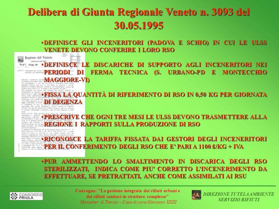 Delibera di Giunta Regionale Veneto n. 3093 del 30.05.1995 DEFINISCE GLI INCENERITORI (PADOVA E SCHIO) IN CUI LE ULSS VENETE DEVONO CONFERIRE I LORO R