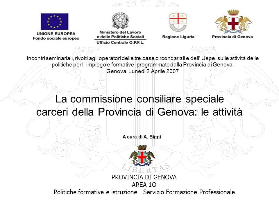 La commissione consiliare speciale carceri della Provincia di Genova: le attività PROVINCIA DI GENOVA AREA 1O Politiche formative e istruzione Servizi