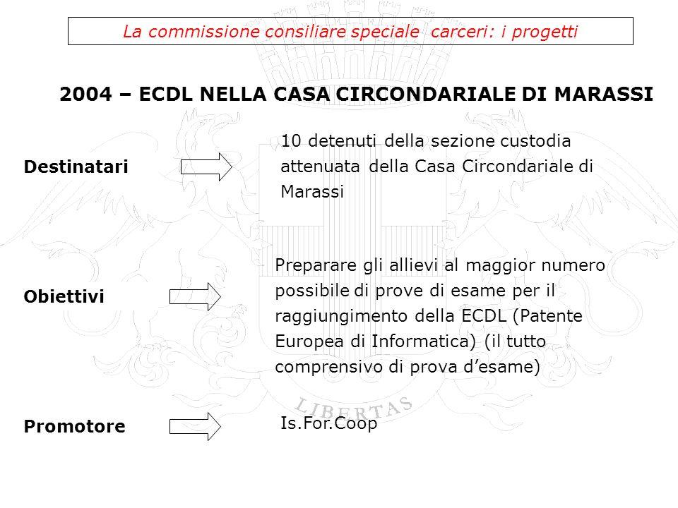 2004 – ECDL NELLA CASA CIRCONDARIALE DI MARASSI La commissione consiliare speciale carceri: i progetti 10 detenuti della sezione custodia attenuata de