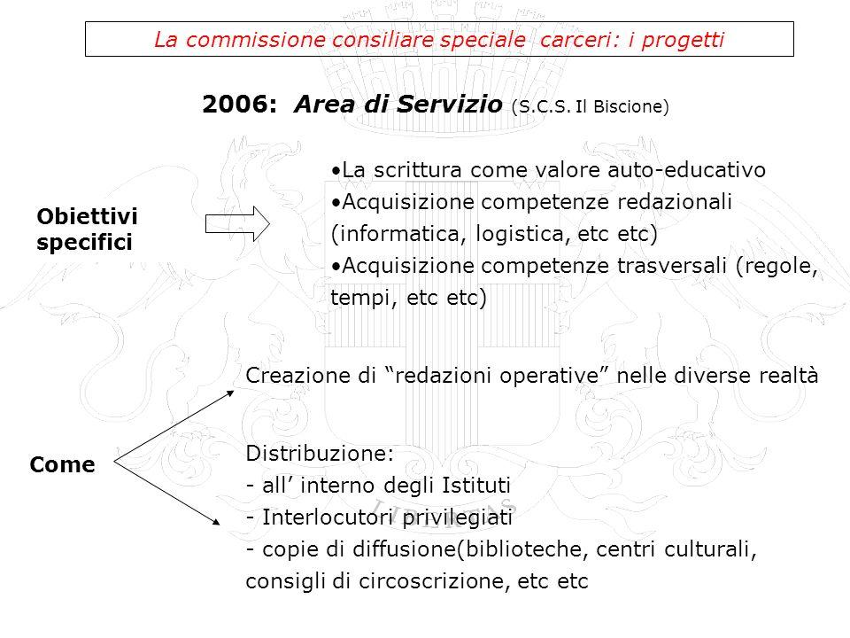 2006: Area di Servizio (S.C.S. Il Biscione) La commissione consiliare speciale carceri: i progetti Obiettivi specifici La scrittura come valore auto-e