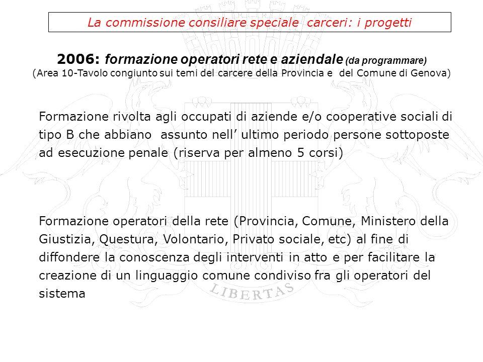 La commissione consiliare speciale carceri: i progetti Formazione rivolta agli occupati di aziende e/o cooperative sociali di tipo B che abbiano assun