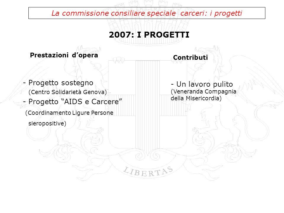 2007: I PROGETTI La commissione consiliare speciale carceri: i progetti - Progetto sostegno (Centro Solidarietà Genova) - Progetto AIDS e Carcere (Coo