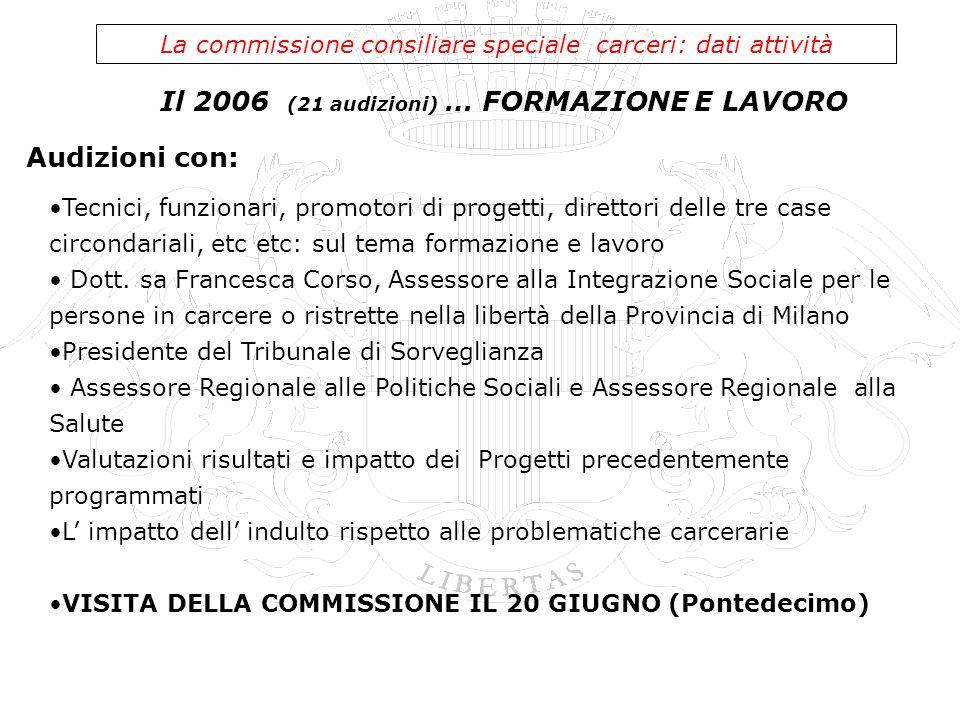 2006: I PROGETTI La commissione consiliare speciale carceri: i progetti - Acquisto attrezzature sportive per palestra casa circondariale Genova Pontedecimo - Progetto fiabe del PRAP di Genova - Marassi - Associazione Comunità S.