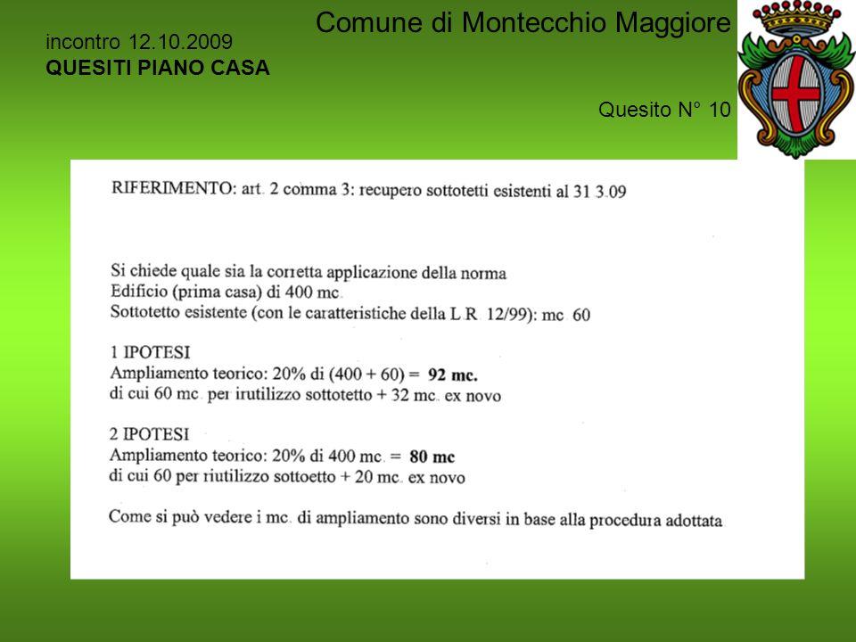 incontro 12.10.2009 QUESITI PIANO CASA Quesito N° 10 Comune di Montecchio Maggiore