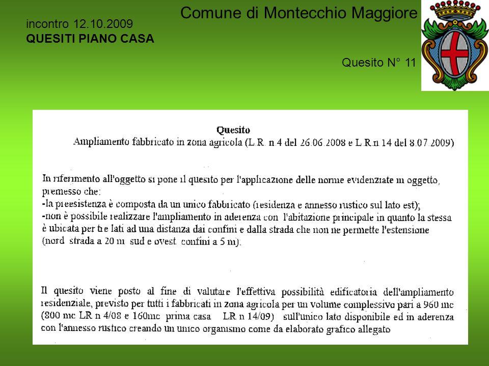 incontro 12.10.2009 QUESITI PIANO CASA Quesito N° 11 Comune di Montecchio Maggiore