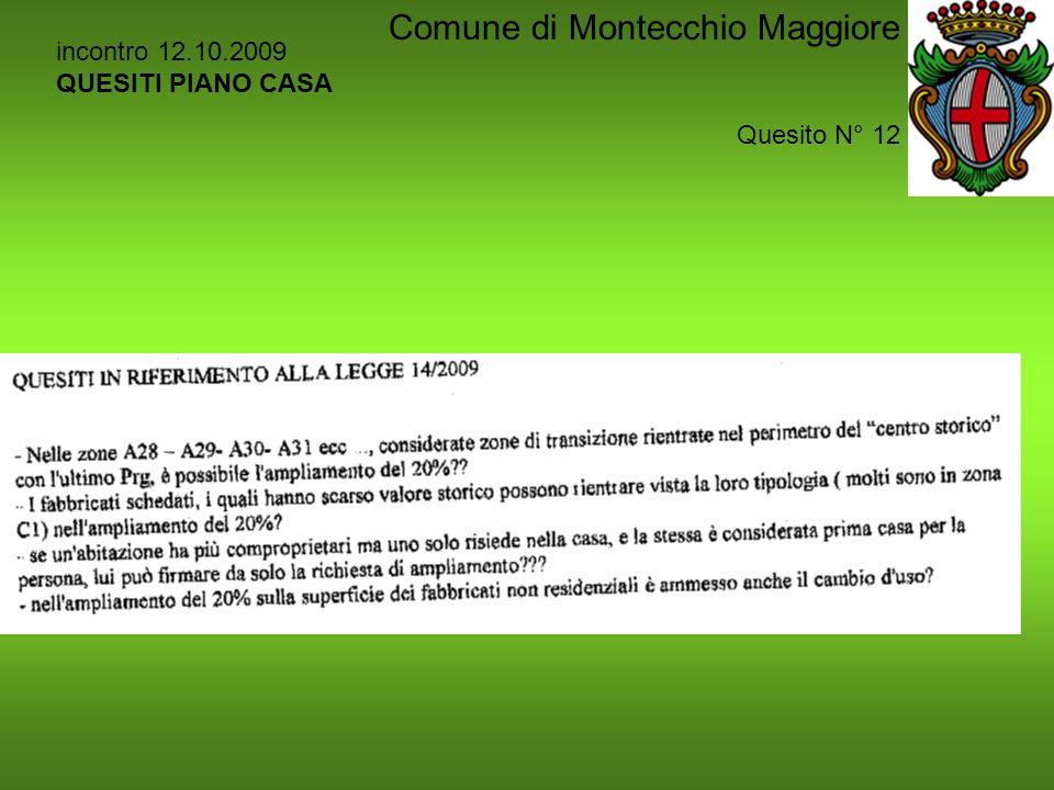 incontro 12.10.2009 QUESITI PIANO CASA Quesito N° 12 Comune di Montecchio Maggiore