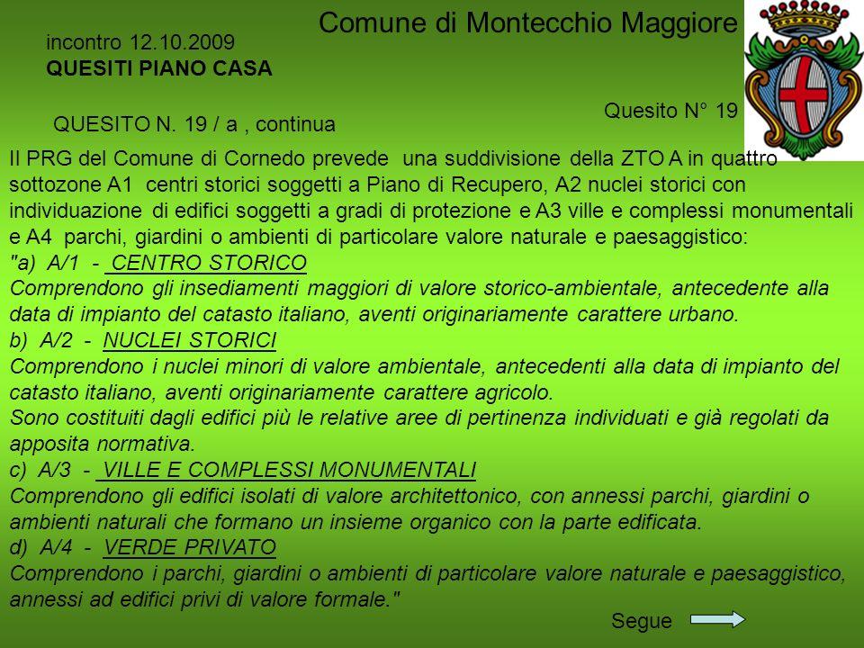 incontro 12.10.2009 QUESITI PIANO CASA Quesito N° 19 Comune di Montecchio Maggiore Il PRG del Comune di Cornedo prevede una suddivisione della ZTO A i
