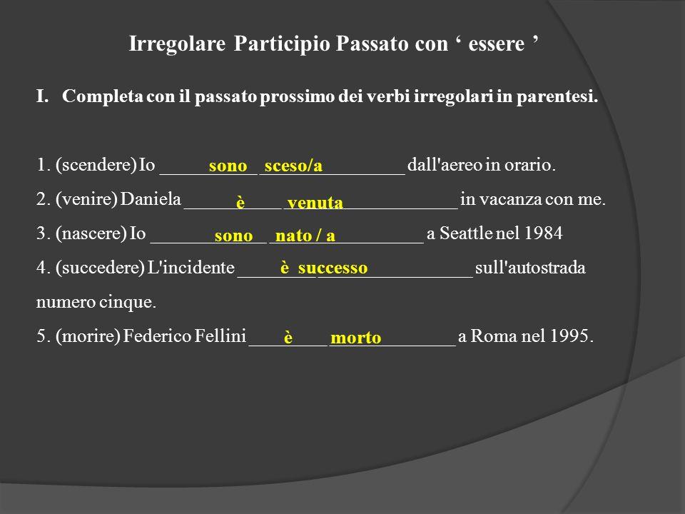 Irregolare Participio Passato con essere I.Completa con il passato prossimo dei verbi irregolari in parentesi. 1. (scendere) Io __________ ___________