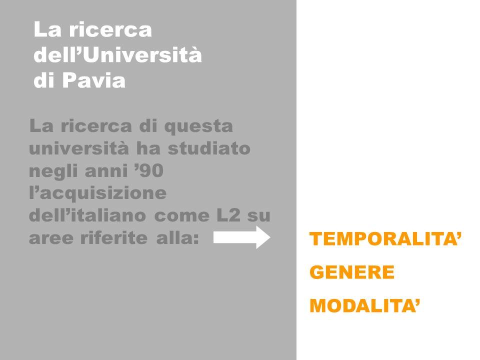 La ricerca dellUniversità di Pavia La ricerca di questa università ha studiato negli anni 90 lacquisizione dellitaliano come L2 su aree riferite alla: TEMPORALITA GENERE MODALITA