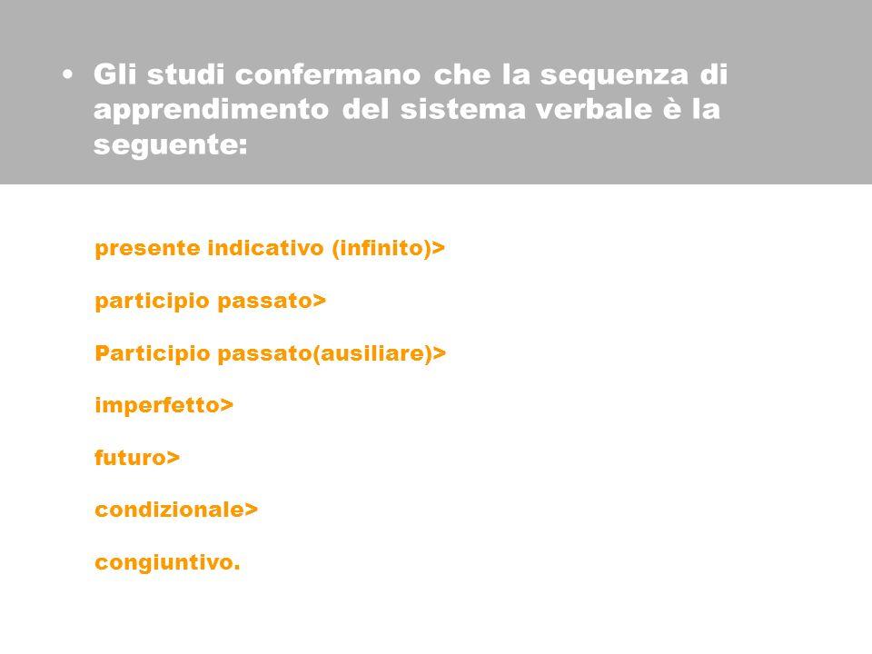 Gli studi confermano che la sequenza di apprendimento del sistema verbale è la seguente: presente indicativo (infinito)> participio passato> Participio passato(ausiliare)> imperfetto> futuro> condizionale> congiuntivo.