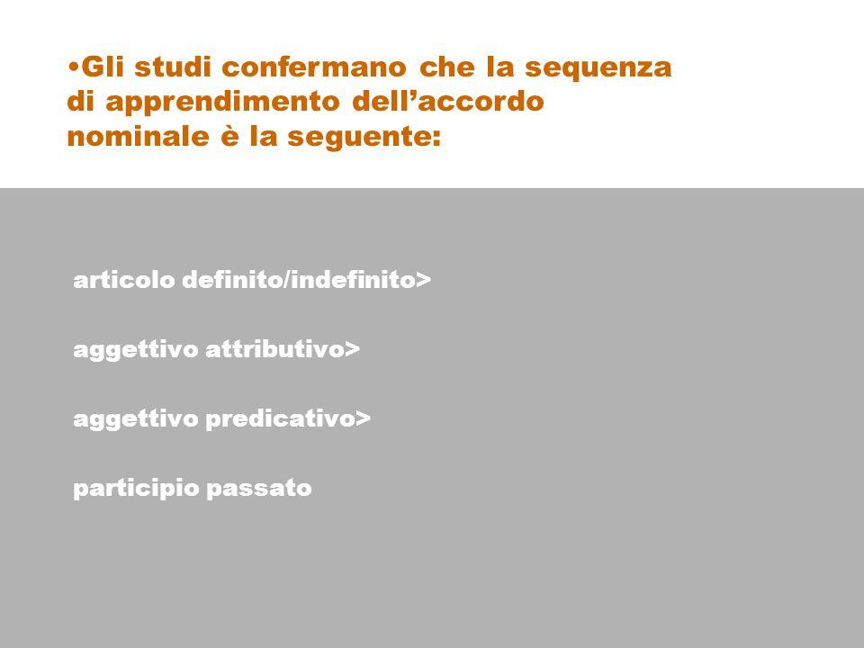articolo definito/indefinito> aggettivo attributivo> aggettivo predicativo> participio passato Gli studi confermano che la sequenza di apprendimento dellaccordo nominale è la seguente: